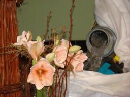 Prachtige bloemen in een sober, maar heerlijk passend bloemstuk.
